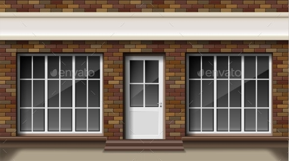 Brick Small Store or Boutique Front Facade - Buildings Objects