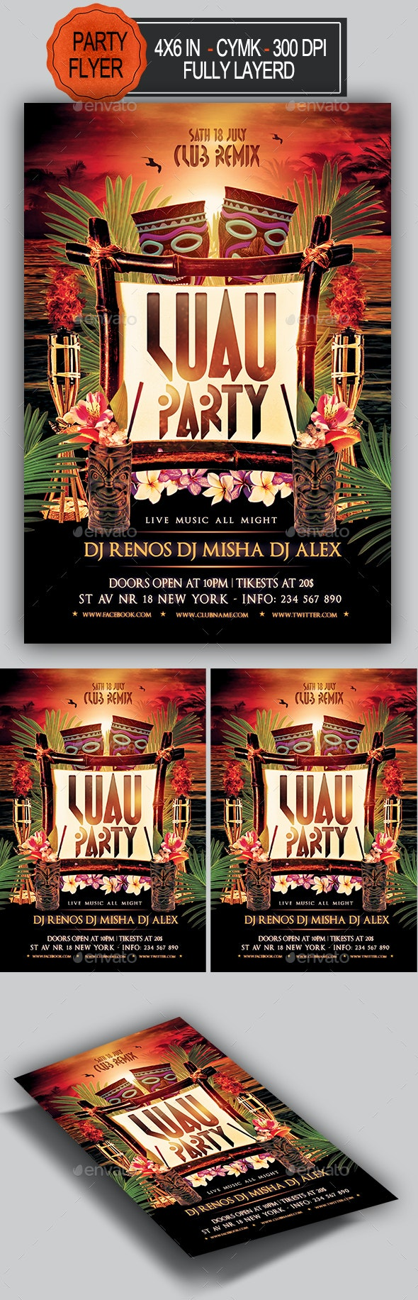 Luau Party Flyer - Clubs & Parties Events