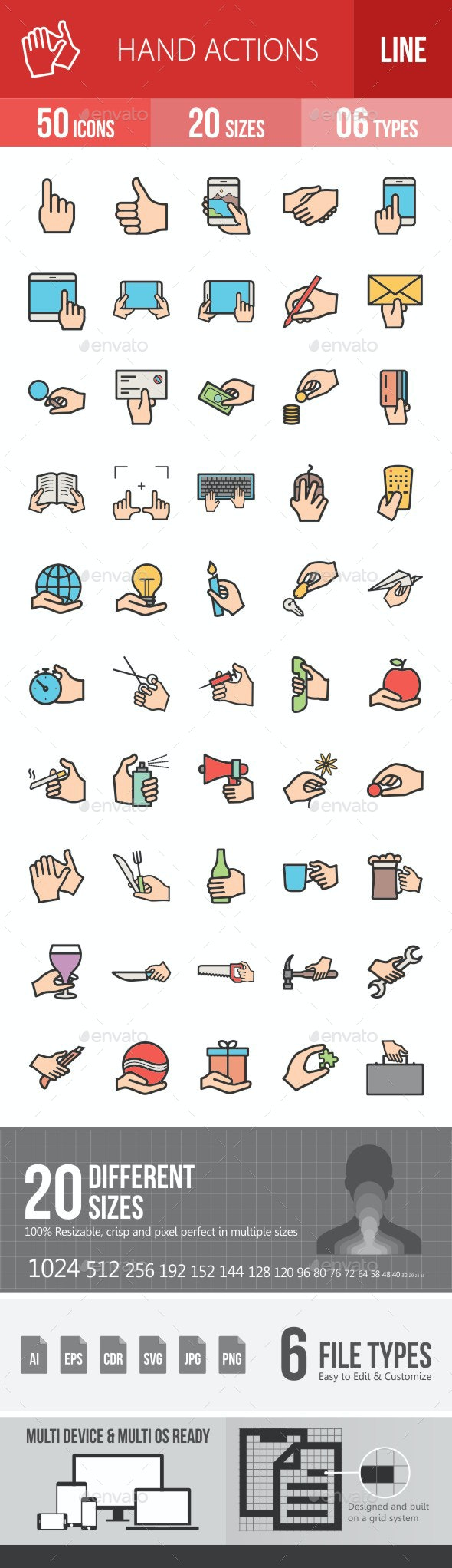 Hand Actions Filled Line Icons - Icons