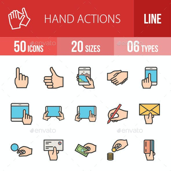 Hand Actions Filled Line Icons