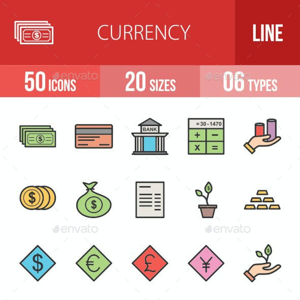 Currency Filled Line Icons