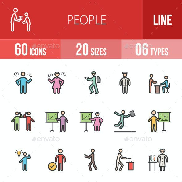 People Filled Line Icons