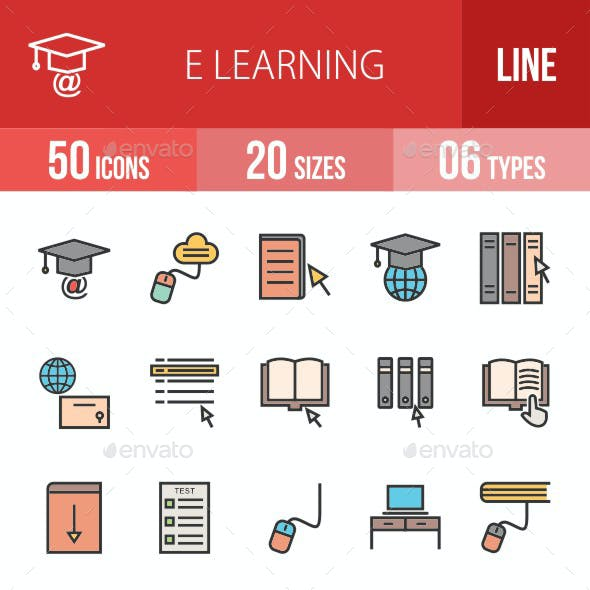 E Learning Filled Line Icons
