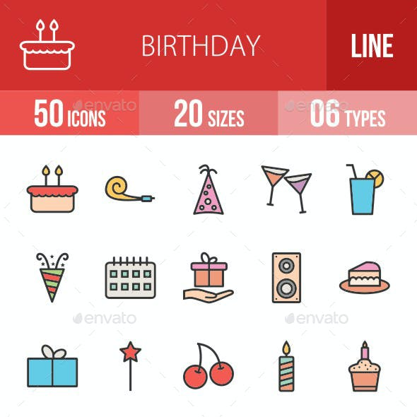 Birthday Filled Line Icons
