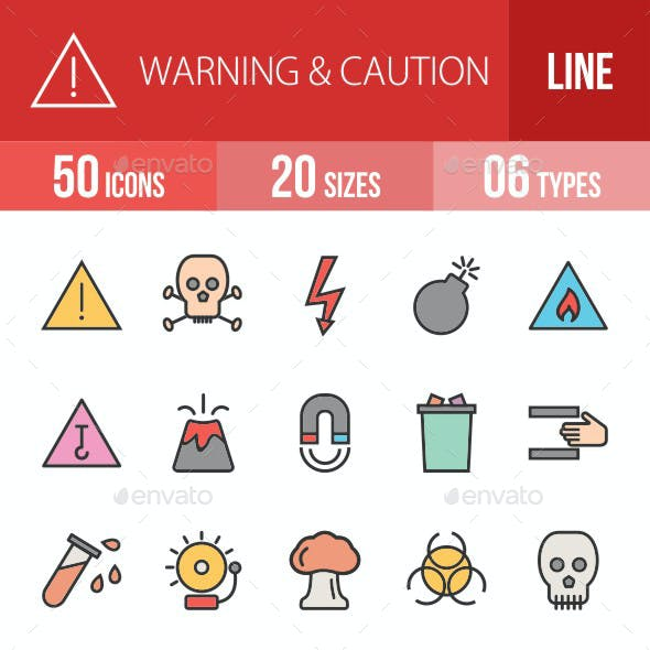 Warning & Caution Filled Line Icons
