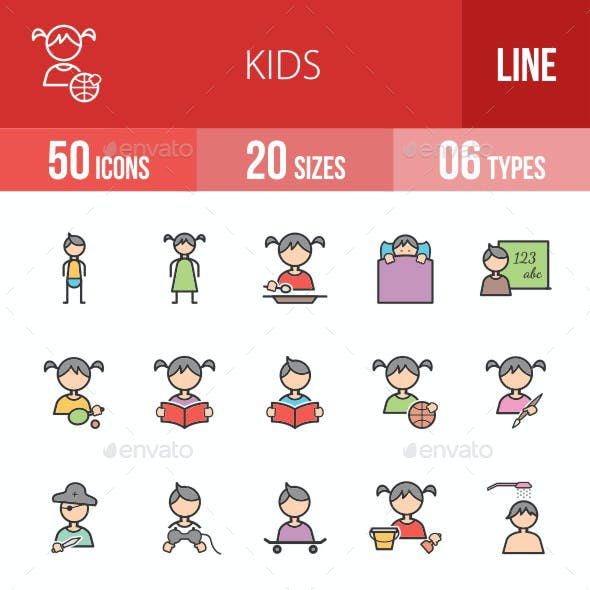 Kids Filled Line Icons