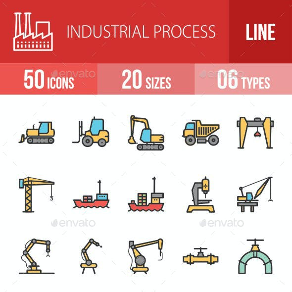 Industrial Process Filled Line Icons