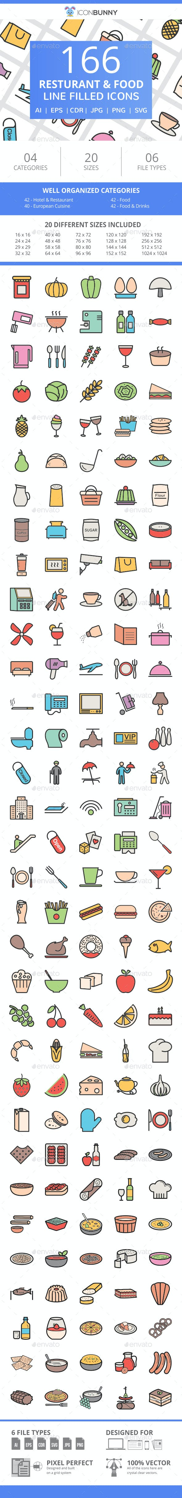166 Restaurant & Food Filled Line Icons