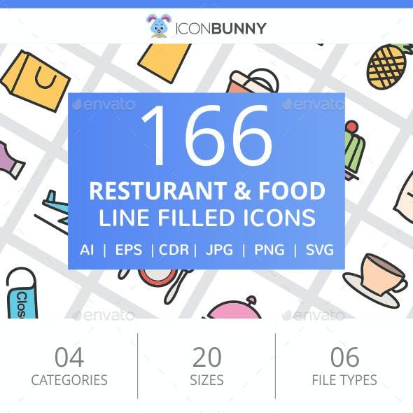 166 Restaurant & Food Filled Line Icons