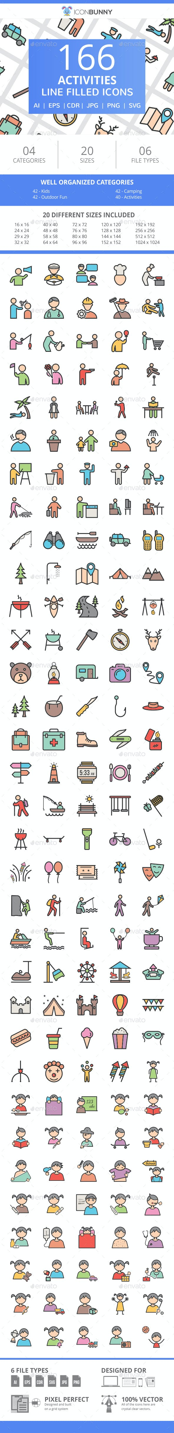 166 Activities Filled Line Icons