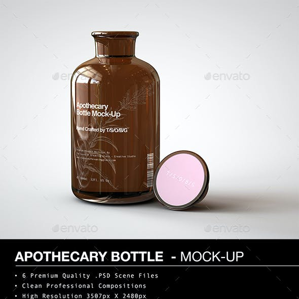 Amber Glass Apothecary Bottle Mock-Up