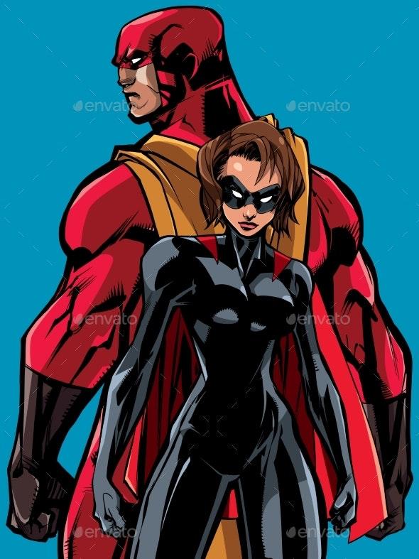 Superhero Couple Back to Back - People Characters