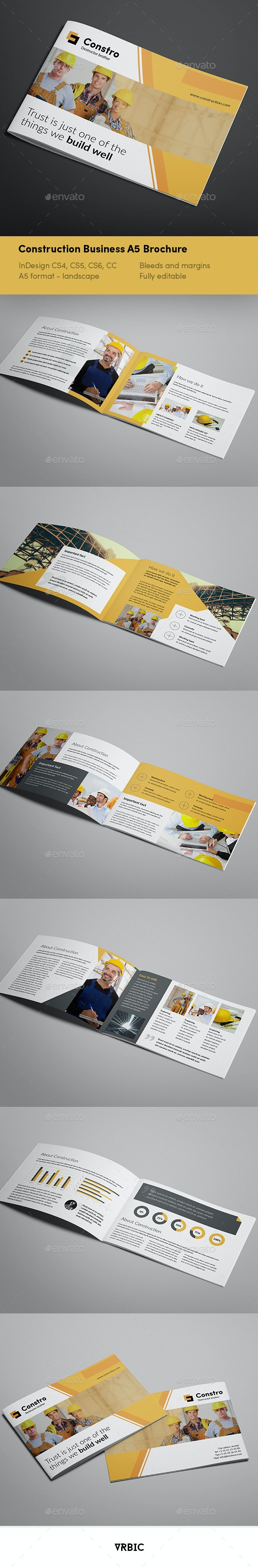 Construction Business A5 Brochure - Brochures Print Templates