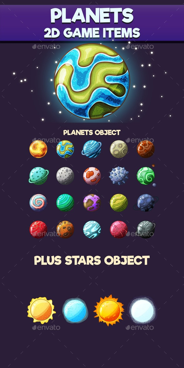 Planets 2D Game Items - Miscellaneous Game Assets
