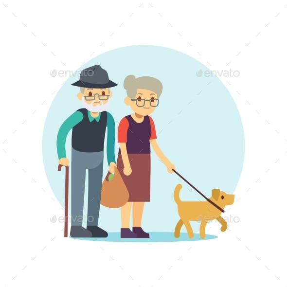 Old Couple Walking Dog