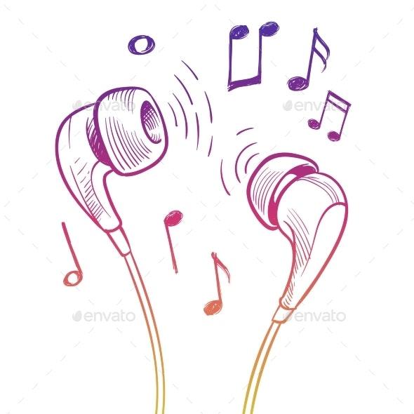 Colorful Headphones Print Design - Miscellaneous Vectors