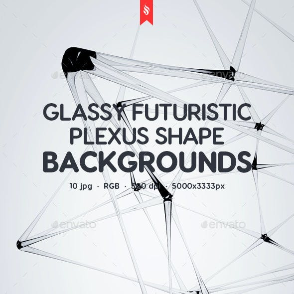 Futuristic Glass Plexus Shapes with Transparency Effect on White Backgrounds
