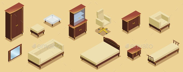 Isometric Hotel Furniture Elements Set - Miscellaneous Vectors