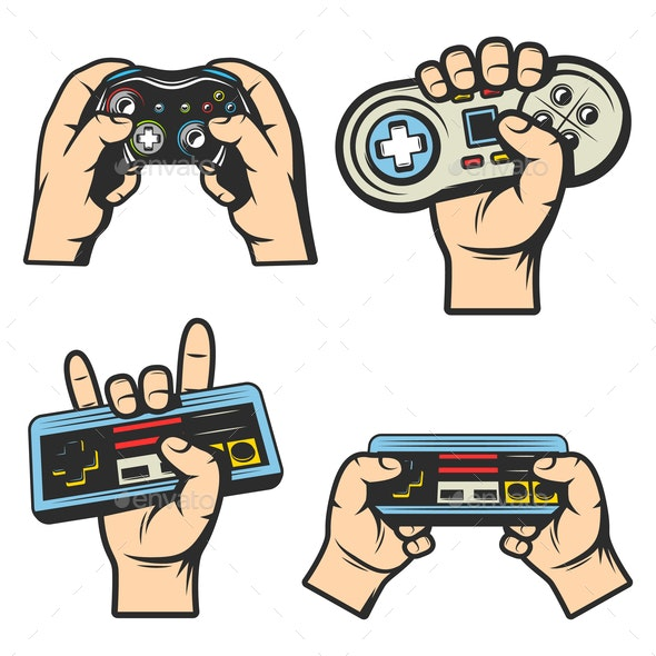 Vintage Colored Gaming Elements Set - Retro Technology