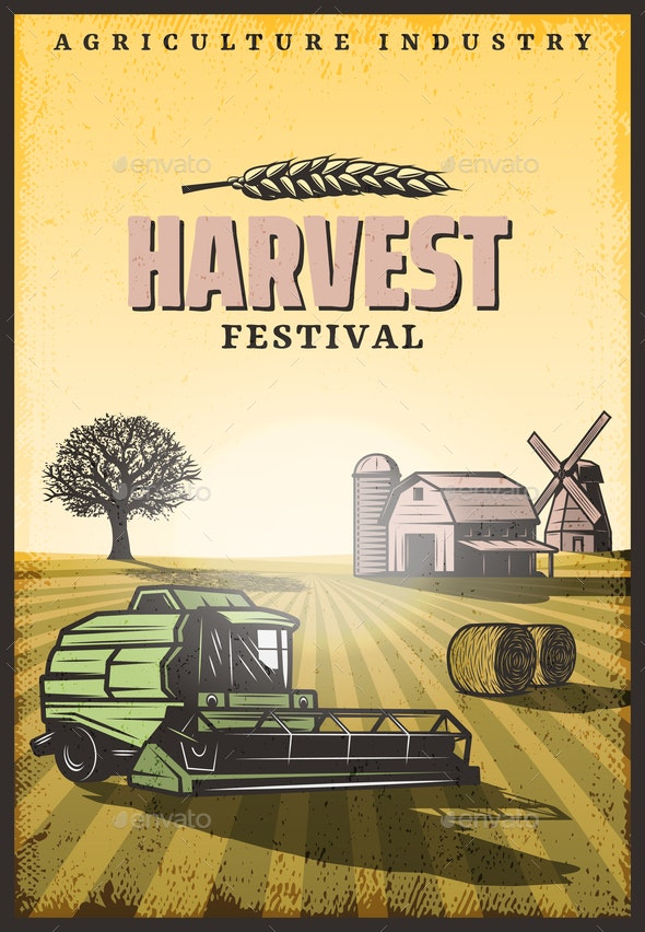 Vintage Colored Harvesting Poster - Miscellaneous Vectors