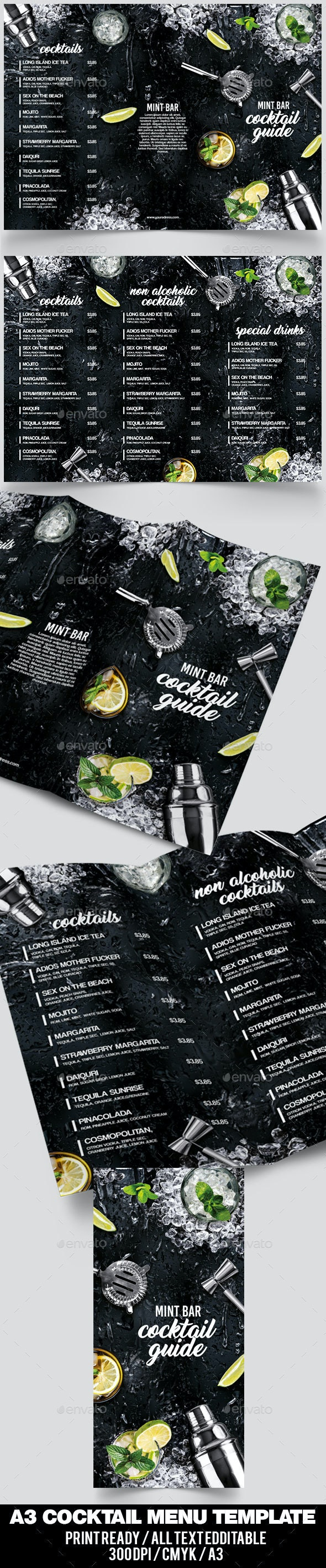 A3 Cocktail Menu - Food Menus Print Templates
