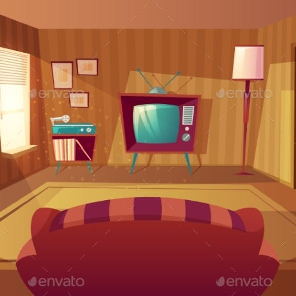 Vector Cartoon Living Room with Sofa