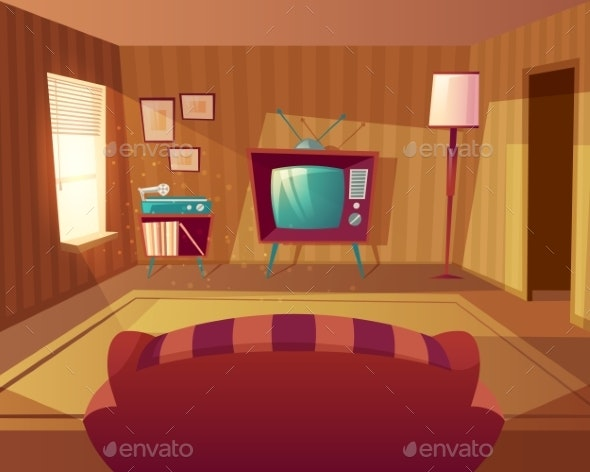 Vector Cartoon Living Room with Sofa - Buildings Objects