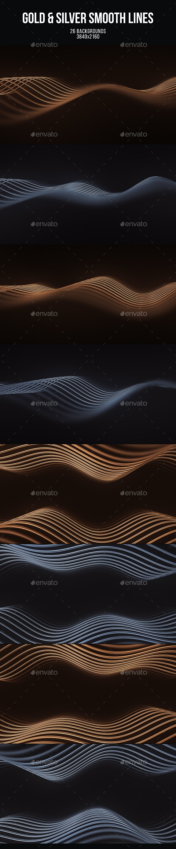 Gold and Silver Smooth Lines - Abstract Backgrounds