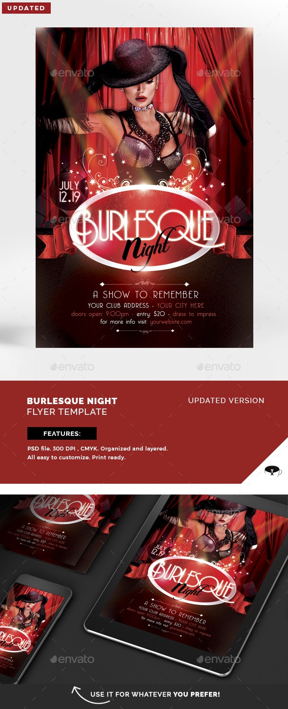 Burlesque Night Flyer Template - Clubs & Parties Events