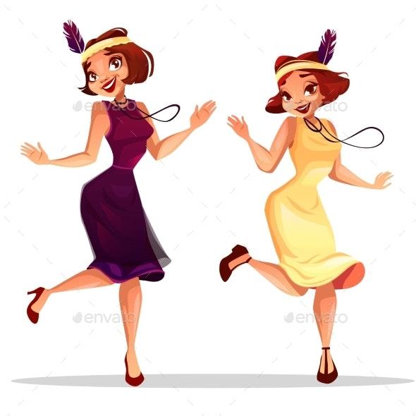 Jazz Dancers Women in Cabaret Vector Illustration - People Characters