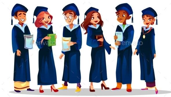 College University Graduates Vector Illustration - People Characters