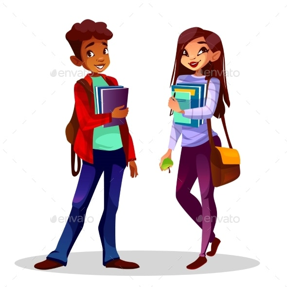 College or University Students Vector Illustration - People Characters