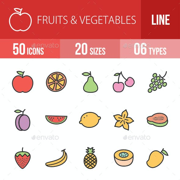 Fruits & Vegetables Filled Line Icons