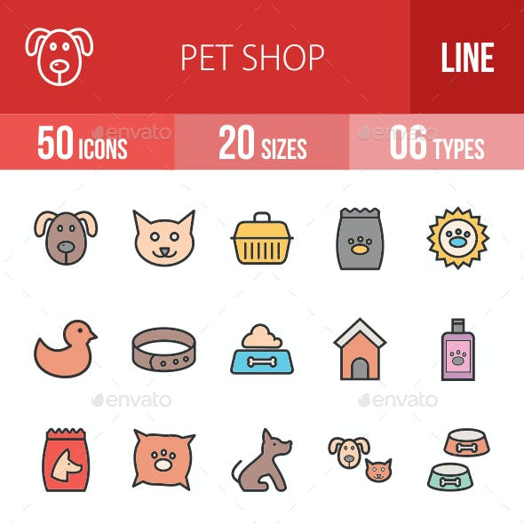 Pet Shop Filled Line Icons