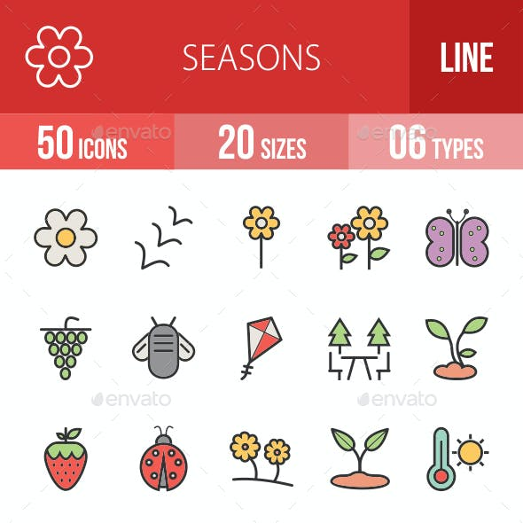 Seasons Filled Line Icons