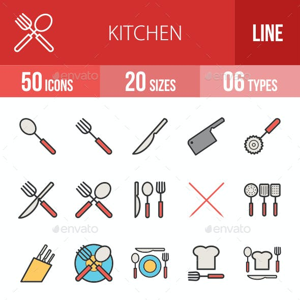 Kitchen Filled Line Icons