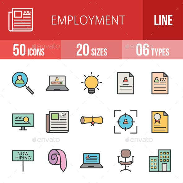 Employment Filled Line Icons