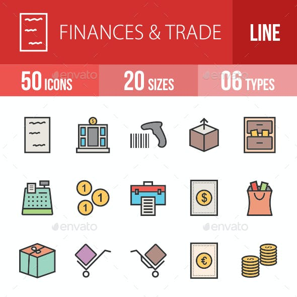 Finances & Trade Filled Line Icons