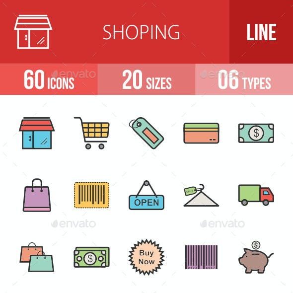 Shopping Filled Line Icons