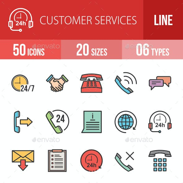 Customer Services Filled Line Icons