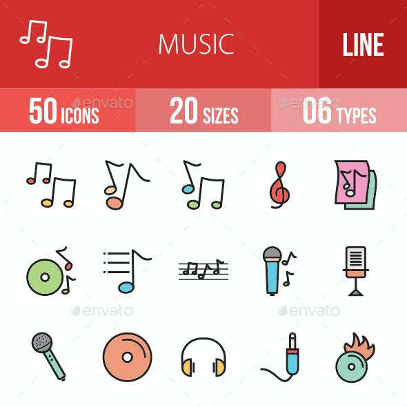 Music Filled Line Icons