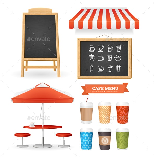 Realistic Detailed Coffee Restaurant Icon Set - Man-made Objects Objects