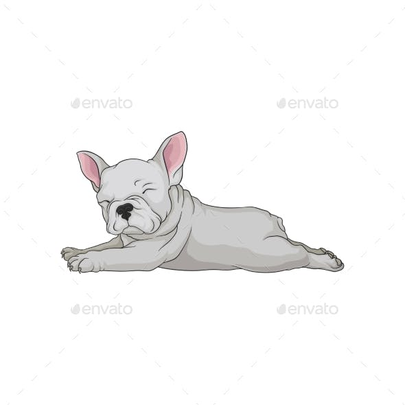 Cartoon Vector Icon of Boston Terrier Laying