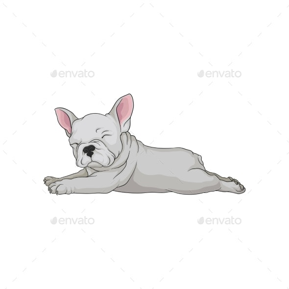 Cartoon Vector Icon of Boston Terrier Laying - Animals Characters