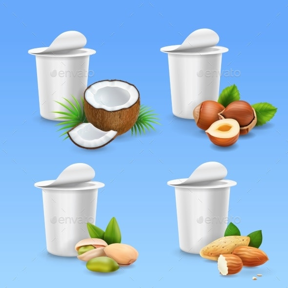 Yogurt Package with Nuts Set - Food Objects