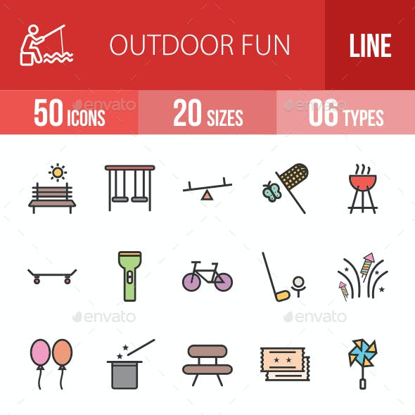 Outdoor Fun Filled Line Icons