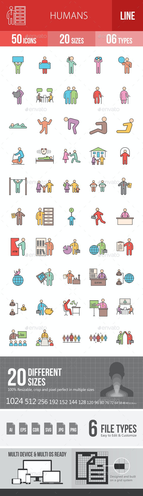Humans Filled Line Icons - Icons