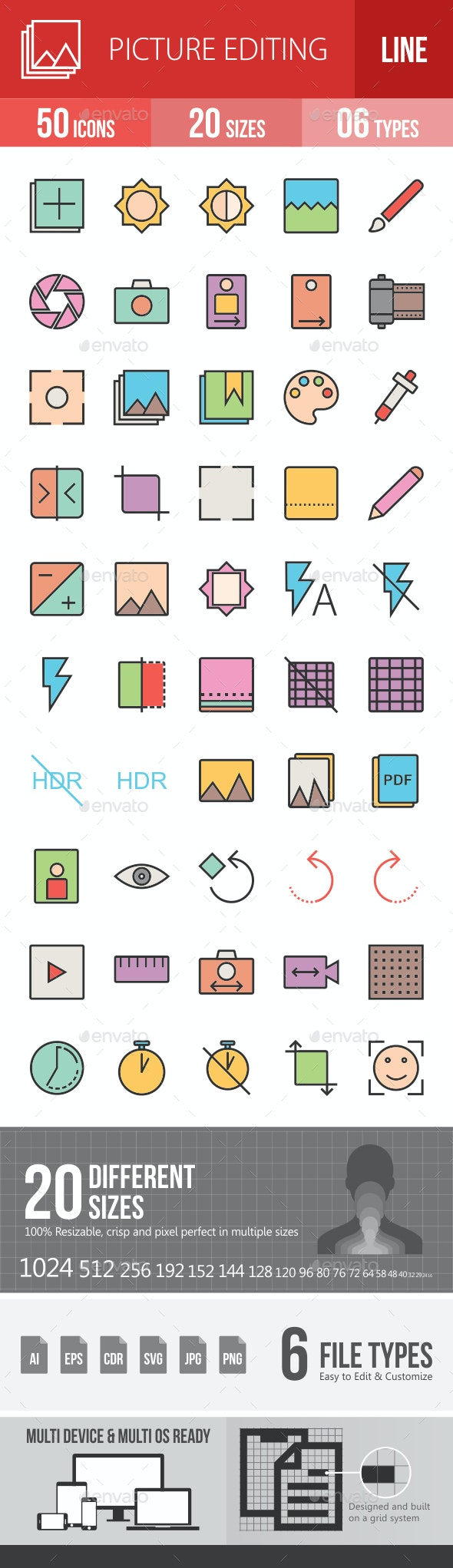 Picture Editing Filled Line Icons - Icons