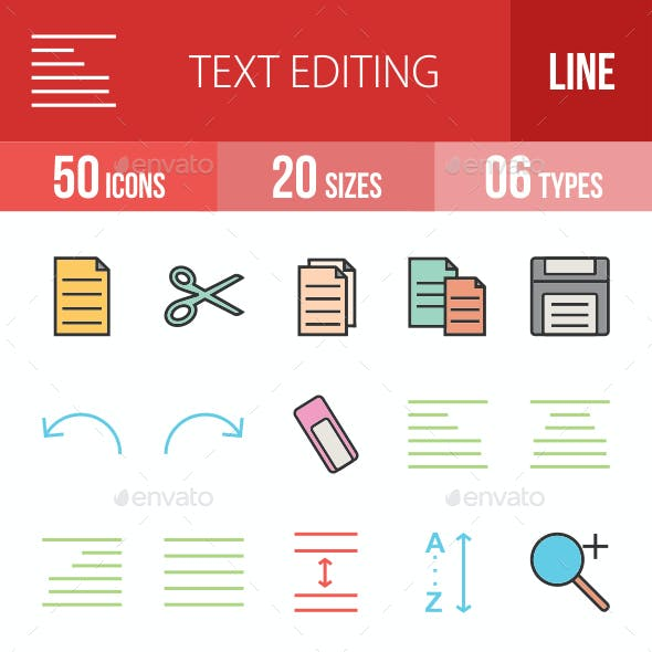 Text Editing Filled Line Icons