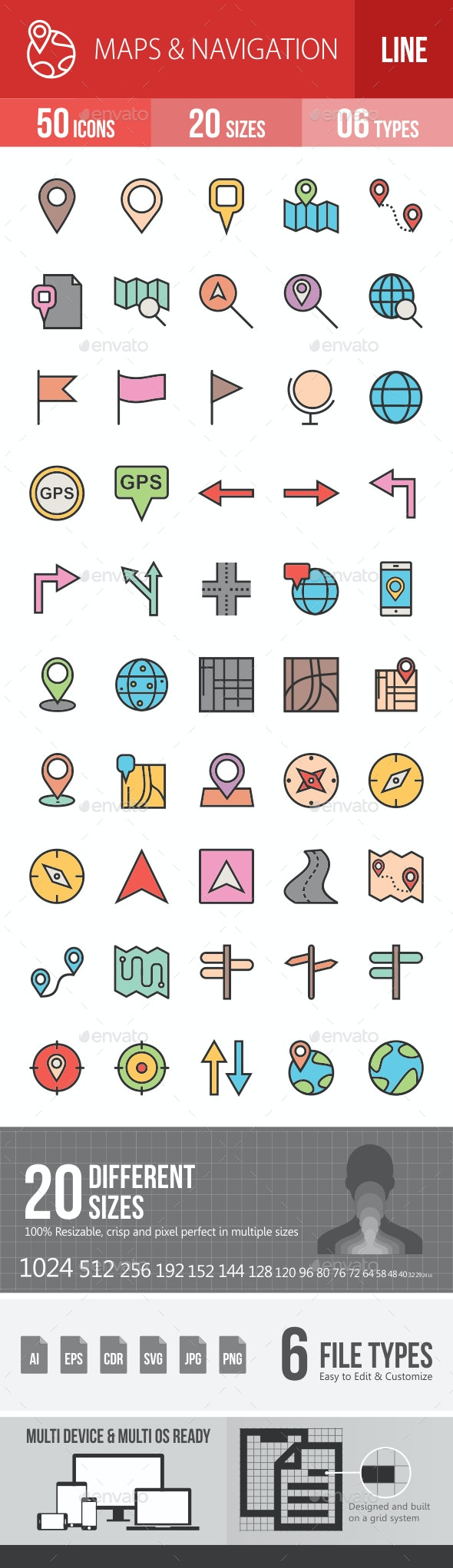 Maps & Navigation Filled Line Icons - Icons